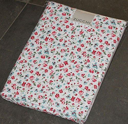 Completo letto lenzuola 1 piazza letto singolo zucchi basics frida clic clac col.1 fiori rossi 100% puro cotone