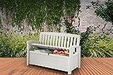 Koll Living Gartenbank/Aufbewahrungsbox / Auflagenbox Farbe Weiß - 227 Liter - Deckel belastbar bis 272 KG - Belüfteter Innenraum - kein übler Geruch oder Schimmel - Modell 2018