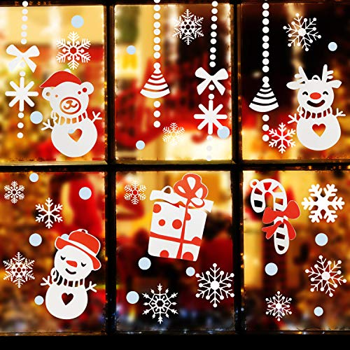 Natale vetrofanie, rimovibile adesivi murali da parete fai da te finestra decorazione vetrina sticker fiocco di neve albero di buon natale per casa negozi