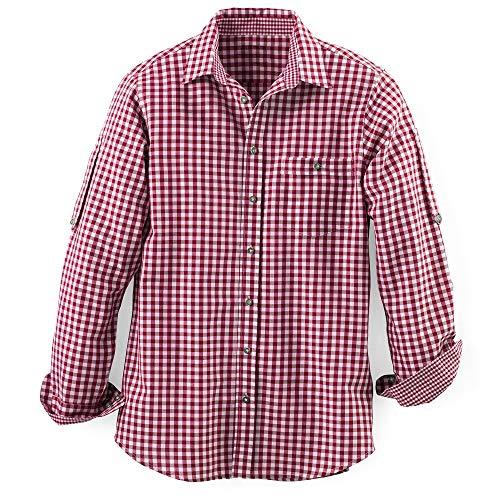 MADDOX Herren Trachten Hemd Übergrößen, Rot, 7XL