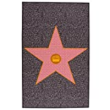 Just Contempo Hollywood Film Star Tile Carpet Teppich mit Rutschfeste Unterseite–Waschbare Fußmatte, Rot Grau
