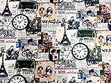 Leinen Vintage Paris Eiffelturm Stoff bedruckt Retro Sofa Canvas DIY