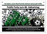 Einladungen für Geburtstage Fußball Verein Männer Frauen Erwachsene lustig jedes Alter möglich, 90 Stück, Größe 170 x 120 mm