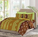 Bombay Dyeing Mimosaa 100 TC Cotton Double Bedsheet with 2 Pillow Covers, Multicolour