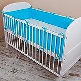 Amilian® Bettumrandung Nest Kopfschutz Nestchen 420x30cm, 360x30cm, 180x30 cm Bettnestchen Baby Kantenschutz Bettausstattung Einfarbig: Dunkel-Blau (180x30cm)