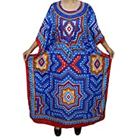 Mogul Interior Bohemian Kaftan Ladies Kimono Caftan Tribal Print Long Plus Size Maxi Dress