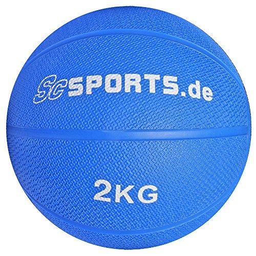 ScSPORTS Medizinball / Gewichtsball, 2 kg, Gummi, 20 cm Durchmesser, blau