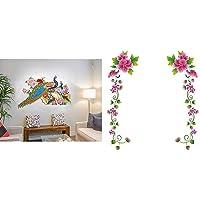 Decals Design Wall Sticker for Living Room Peacock Birds Nature (PVC Vinyl, Multicolor) & 'Flower Vines' Wall Sticker (PVC Vinyl, 70 cm x 25 cm, Multicolour) Combo