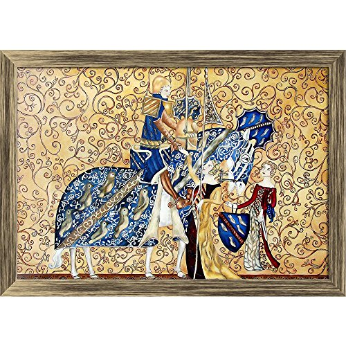 Pitaara Box Medival Artwork with King & Queen Canvas Painting Antique Golden Frame 23 X 16Inch (Queen-size-split-box)