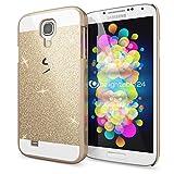 NALIA Handyhülle für Samsung Galaxy S4, Glitzer Slim Hard-Case Back-Cover Schutzhülle, Bumper Handy-Tasche im Glitter Design, Dünnes Bling Strass Etui Skin für Samsung-S4 Smart-Phone - Gold