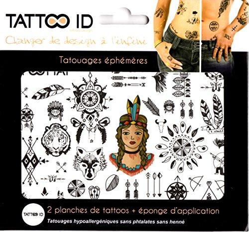 TATTOO ID INDIEN SIOUX tatouage ephemere temporaire hypoallergénique Fabriqué en FRANCE. 2 planches identiques + 1 éponge cosmétique Homme Femme