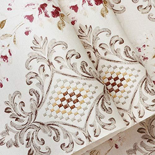 Leichte Luxus-Damast-Stickerei-Tapete moderner minimalistischer nichtgewebter Schlafzimmerwohnzimmer Fernsehhintergrundwandpapier (Color : Calamine powder) -