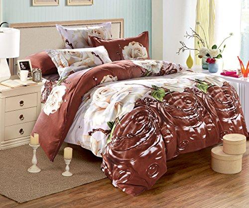 3D Brilliant Elegant Golden Rose 4-teiliges Prints Bettbezug Set für Doppelbett Größe