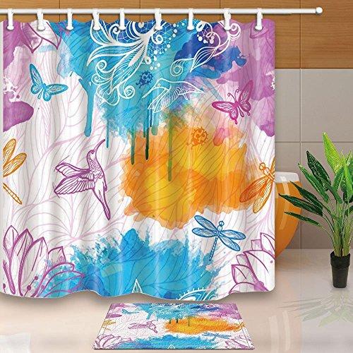 Duschvorhänge Mit Libellen (Vector Gemälde Birds Libellen in Aquarell Schatten 180x 180cm Polyester-Schimmelresistent-Duschvorhang Anzug mit 60x 40cm Flanell rutschfeste Boden Fußmatte Bad Teppiche)