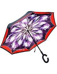 Paraguas Doble Capa, Manos Libres Paraguas Invertida Reverso Inversa Prueba de Viento de la Manija