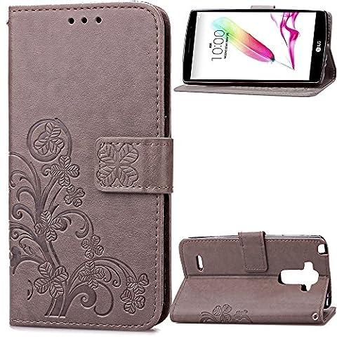 Coque pour LG G Stylo/ LG G4 Stylus/LG LS770 ,Housse en cuir pour LG G Stylo/ LG G4 Stylus/LG LS770 ,Ecoway Colorful imprimé étui en cuir PU Cuir Flip Magnétique Portefeuille Etui Housse de Protection Coque Étui Case Cover avec Stand Support Avec des Cartes de Crédit Slot et Fonction Support pour LG G Stylo/ LG G4 Stylus/LG LS770 – Trèfle gris gaufré