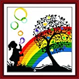 Benway Counted Cross Stitch Little Girl Playing With Colorful Bubbles Under The Heart Tree 14 Count 42cm X 41cm