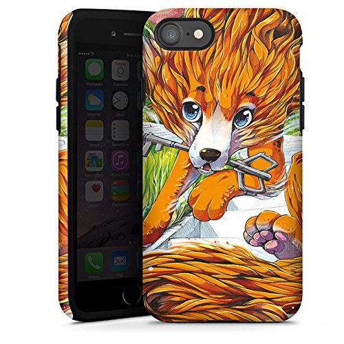 Apple iPhone X Silikon Hülle Case Schutzhülle Fuchs Zeichnung Orange Tough Case glänzend