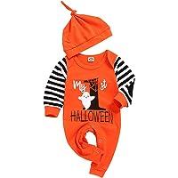 Ttkgyoe My First Halloween Baby Boy Girl Outfit Pumpkin Romper Bodysuit with Hat One-Piece Jumpsuit