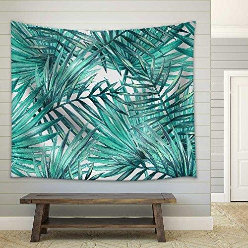 Foto de Pareo estampado con hojas tropicales en tejido ligero de poliéster útil como tapiz decorativo, colcha, mantel o para ir a la playa (198 x 147 cm) (GT06), azul, verde, 78