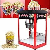 Preup Popcornmaschine Popcorn-Maker Popcorn-Bereiter Popcorn-Maschine mit Edelstahltopf und Innenbeleuchtung 1370W 64x47x79cm Rot