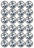 24Ancre Marine marin pêcheur prédécoupée comestible pour cupcakes–comestible carte Disc Décorations de gâteau Stand Up, PRECUT