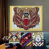YOMIA Animales búho punto de cruz patrones 5D DIY Diamond pintura mosaico especial forma de diamante parte pintura por números bordado para principiantes, Fiercely Bear