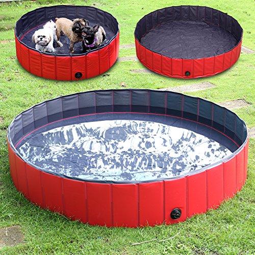FEMOR Foldable Pet Dogs Cats Paddling Pool Puppy Swimming Bathing Tub (L/160 × 30cm / 63″D x 12″H )