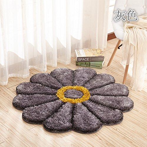 Preisvergleich Produktbild Lx.AZ.Kx Fußmatte Dicke Stereo Sonnenblume Pad minimalistischen Der Teppich Der Schlafzimmer die Kante des Bettes und Wohnzimmer Rundschreiben Matten Pc Sitzkissen 1,2M, Grau