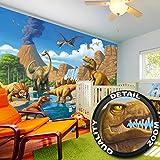 Fototapete Kinderzimmer Abenteuer Dinosaurier - Wandbild Dekoration Dinowelt Comic style jungle adventure Dinosaurus Wasserfall I Foto-Tapete Wandtapete Fotoposter Wanddeko by GREAT ART (336 x 238 cm)