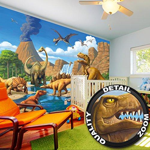 Foto mural Dinosaurio Aventura Habidation de niños – decoración Mundo Dinosaurio Estilo Comic Aventura Jungle Dinosaurio Salto de agua | foto-mural foto póster deco pared by GREAT ART (336 x 238 cm)