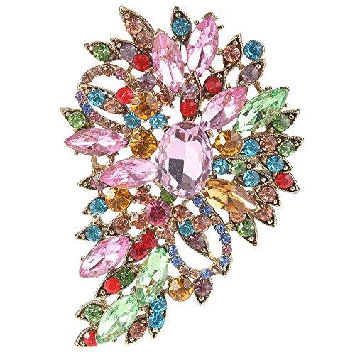 quise Österreichische Kristall Hochzeit Blume Blatt Bouquet Brosche bunt Antique Gold-Ton ()