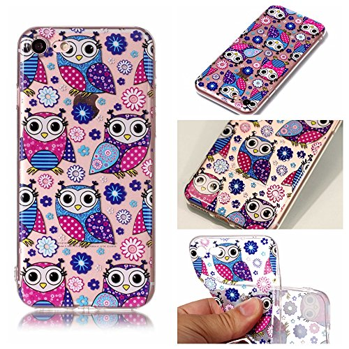 iPhone 8 7 Custodia, SportFun Slim Flexible TPU Custodia Protettiva in silicone per iPhone 8 7 Case gufo Crisantemo cavallo (Hirsch) Eule