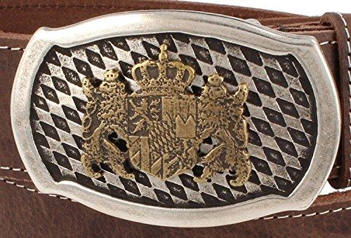 Trachtenkönig Trachtengürtel Original Unisex zur Lederhose Bayern Wappen Kürzbar (120 cm, Dunkelbraun (Vollrindleder))_TK05_01_M_120 - 3
