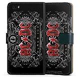 Huawei P8 lite (2015-2016) Tasche Leder Flip Case Hülle Acdc Merchandise Fanartikel Black Ice
