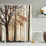 FuXing Duschvorhang Imprägniern Polyester Gewebe Ahorn Digital Drucken Badezimmer Vorhang 180 x 180cm (Ahorn-Wald)