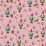 Baumwollstoff: Happy Gnome - Zwerge auf rosa