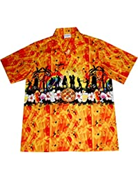 "Chemise Hawaienne Homme ""Summer Party"" 100% coton, taille M – 6XL, orange"