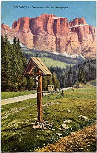 1923 - dolomiti e gruppo di sella, crocifisso in legno, carrozza - fp col vg cartolina postale