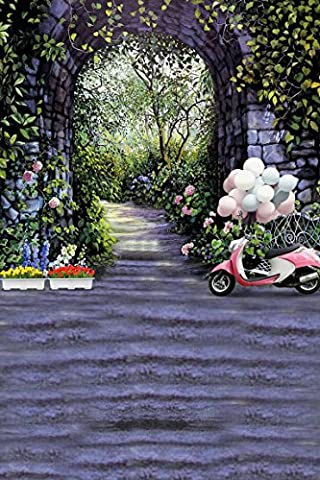 A.Monamour Stone Built Domed Door Flower Trees Path Street Wedding Scene Photo Backgrounds Vinyl Mural Studio Props