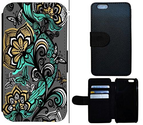Flip Cover Schutz Hülle Handy Tasche Etui Case für (Apple iPhone 6 / 6s, 1508 Hexe Besen Halloween Mond) 1501 Schmetterlinge Absract Türkis Grau