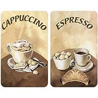 WENKO 2521280100 Coprifornelli in Vetro Universal Caff egrave   set 2 Pezzi  per Tutti i Tipi di Piani di Cottura  Vetro Temperato  30 x 52 cm  Multicolore