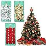 Kalolary 36PCS Natale Archi Festival Bowknot Decorazioni per Albero di Natale, Fiocchi di Nastro di Natale per la Decorazione della Festa di Natale Home Decor (Rosso, Oro, Argento)