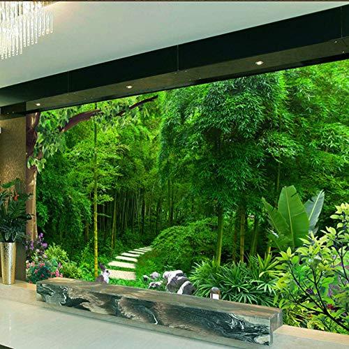 VVNASD 3D Tapete Aufkleber Dekorationen Wandbilder Wand Wohnzimmer Schlafzimmer Sofa Background Green Bamboo Green Fresh Kunst Mädchen Küche (W) 140X(H) 100Cm