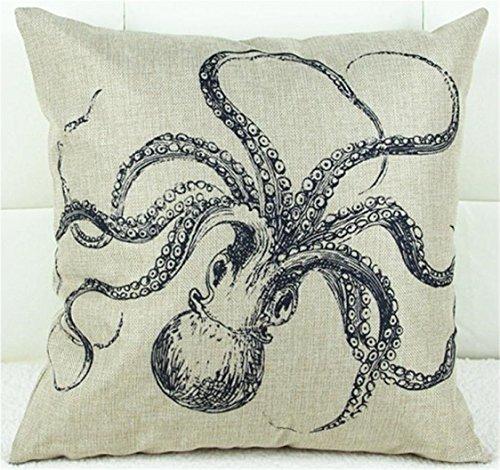 Sunnywill Baumwolle Bettwäsche Square Throw Pillow Case Kissen Abdeckung Kissenbezug Sofa Octopus ( Kissen ist nicht inbegriffen )