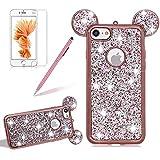 Silikon Glitzer Hülle für iPhone 5S, Girlyard Plating Weiche TPU Strass Maus Ohren Bling Backcover, 3D Kreativ Design Schutzhülle Flexibel Rubber Etui und Ultra Slim Case für iPhone 5 5S SE -- Rose Gold