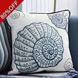 Valery Madelyn Ocean Collection Winter Wishes Christmas Cushion Cover Embroidered Conch Premium Velvet Decorative Square Throw Pillow Case for Home Sofa Decor (White Blue Green, 45 x 45 cm)