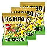 Haribo Sauer Goldbären, 3er Pack, Saures Gummibärchen Sauer, Weingummi, Fruchtgummi Sauer, Im Beutel, Tüte
