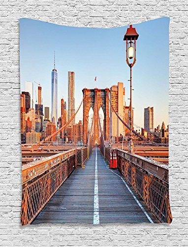 (City Wandteppich, New York Skyline Nahaufnahme Brooklyn Bridge in Manhattan über Hudson River zum Aufhängen, für Schlafzimmer Wohnzimmer Wohnheim, 40W x 60L Zoll, Orange Hellblau Grau, Textil, Multi 1, 60