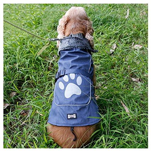 jeerui® Wintermantel für Hunde aus Fleece und Nylon Wasserdicht Kleidung für Hunde verstellbar und warm Nylon Wintermantel